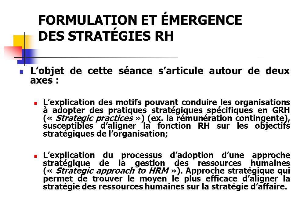 FORMULATION ET ÉMERGENCE DES STRATÉGIES RH Lobjet de cette séance sarticule autour de deux axes : Lexplication des motifs pouvant conduire les organis