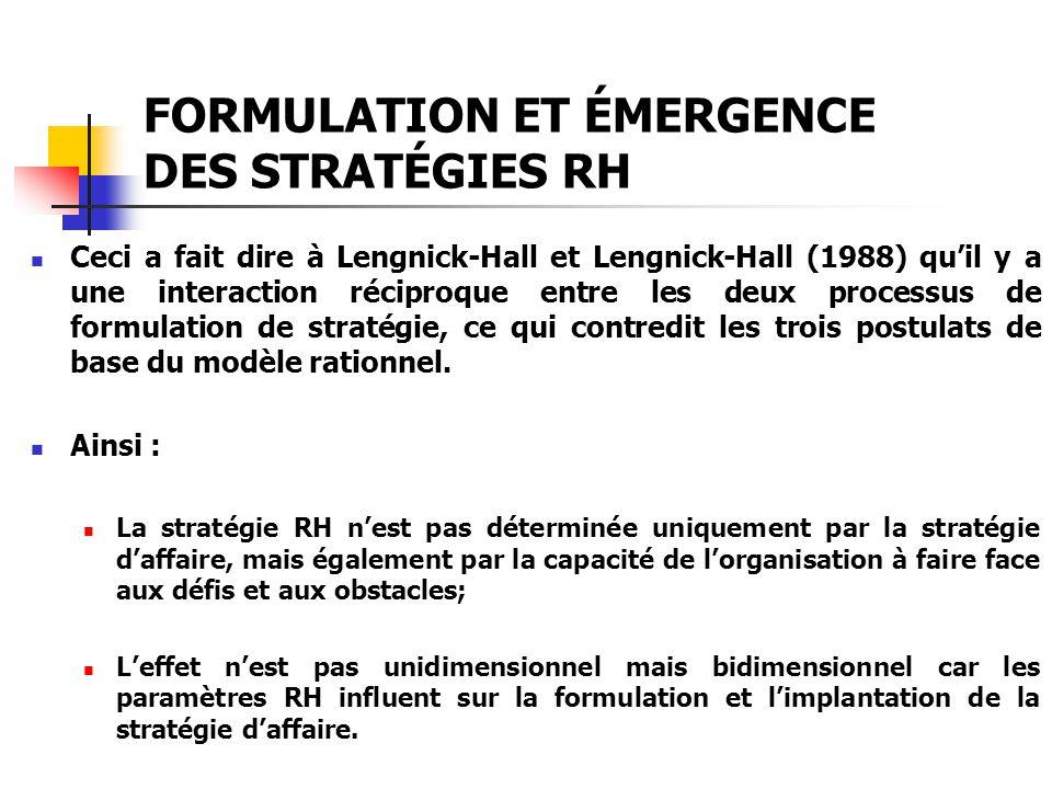 FORMULATION ET ÉMERGENCE DES STRATÉGIES RH Ceci a fait dire à Lengnick-Hall et Lengnick-Hall (1988) quil y a une interaction réciproque entre les deux
