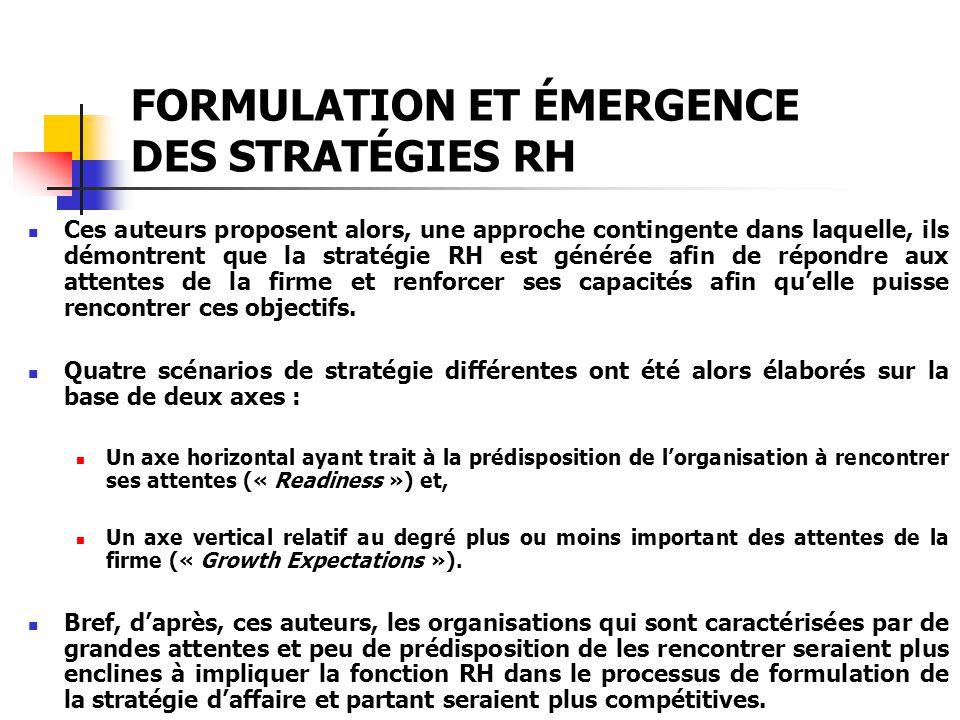 FORMULATION ET ÉMERGENCE DES STRATÉGIES RH Ces auteurs proposent alors, une approche contingente dans laquelle, ils démontrent que la stratégie RH est