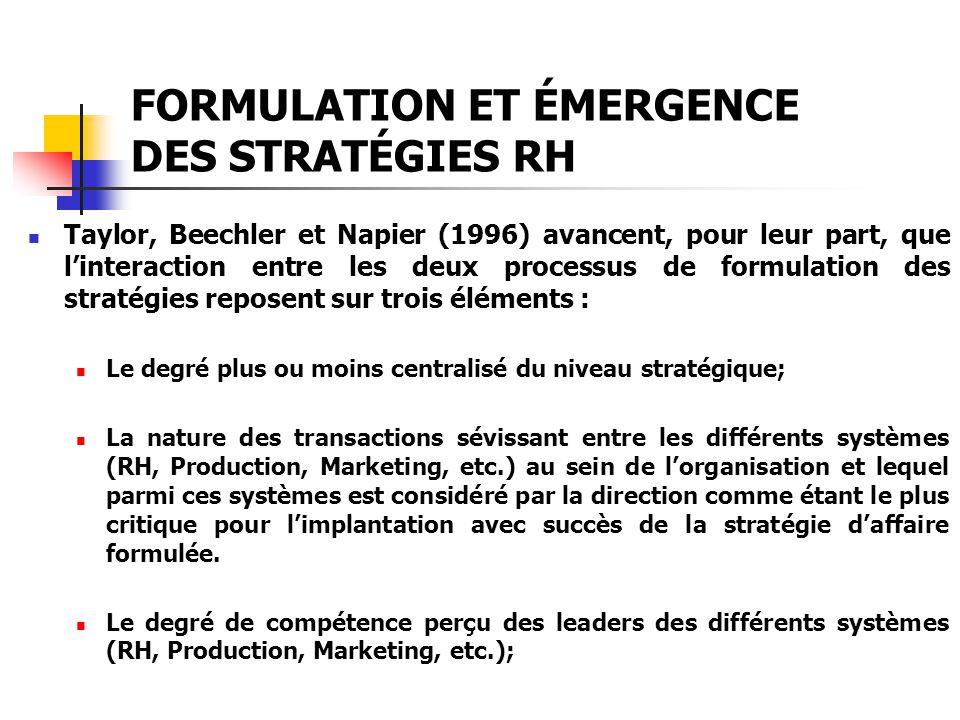 FORMULATION ET ÉMERGENCE DES STRATÉGIES RH Taylor, Beechler et Napier (1996) avancent, pour leur part, que linteraction entre les deux processus de fo