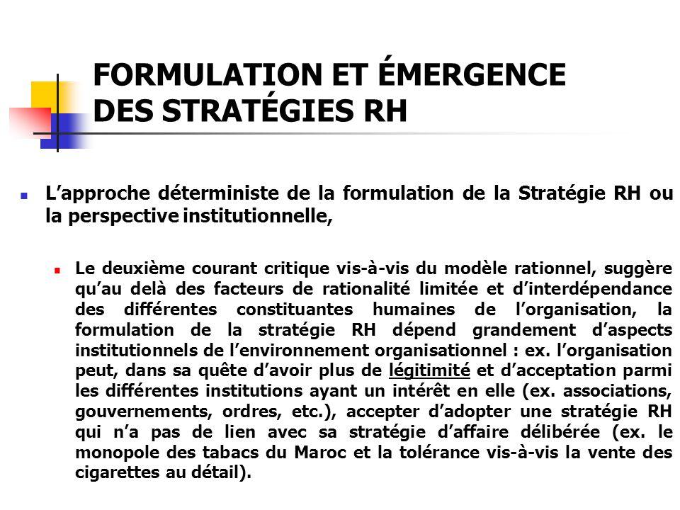 FORMULATION ET ÉMERGENCE DES STRATÉGIES RH Lapproche déterministe de la formulation de la Stratégie RH ou la perspective institutionnelle, Le deuxième
