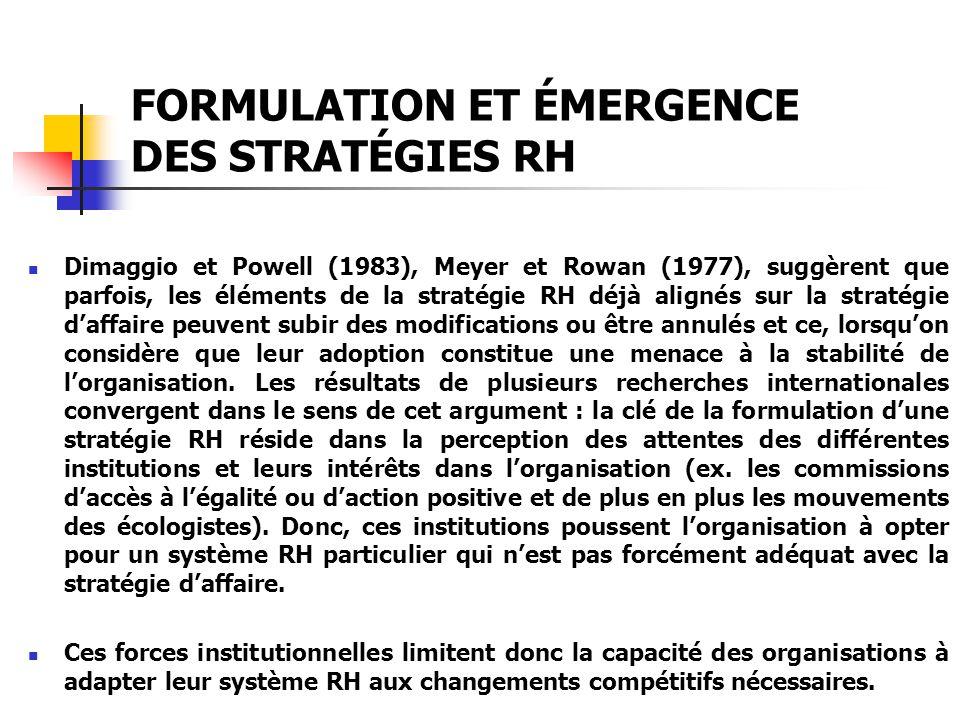 FORMULATION ET ÉMERGENCE DES STRATÉGIES RH Dimaggio et Powell (1983), Meyer et Rowan (1977), suggèrent que parfois, les éléments de la stratégie RH dé