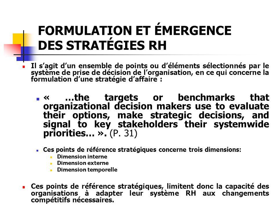 FORMULATION ET ÉMERGENCE DES STRATÉGIES RH Il sagit dun ensemble de points ou déléments sélectionnés par le système de prise de décision de lorganisat
