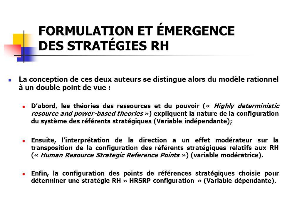 FORMULATION ET ÉMERGENCE DES STRATÉGIES RH La conception de ces deux auteurs se distingue alors du modèle rationnel à un double point de vue : Dabord,