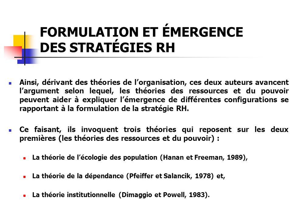 FORMULATION ET ÉMERGENCE DES STRATÉGIES RH Ainsi, dérivant des théories de lorganisation, ces deux auteurs avancent largument selon lequel, les théori