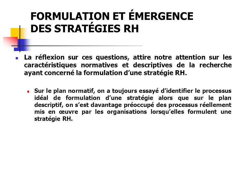 FORMULATION ET ÉMERGENCE DES STRATÉGIES RH Ceci a fait dire à Lengnick-Hall et Lengnick-Hall (1988) quil y a une interaction réciproque entre les deux processus de formulation de stratégie, ce qui contredit les trois postulats de base du modèle rationnel.