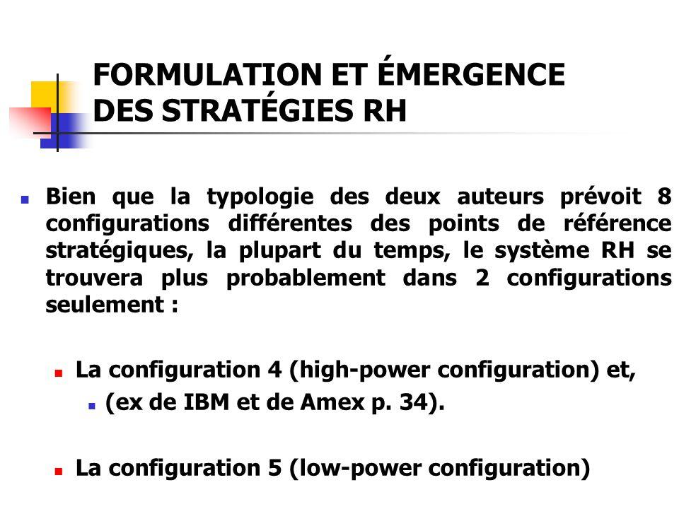 FORMULATION ET ÉMERGENCE DES STRATÉGIES RH Bien que la typologie des deux auteurs prévoit 8 configurations différentes des points de référence stratég