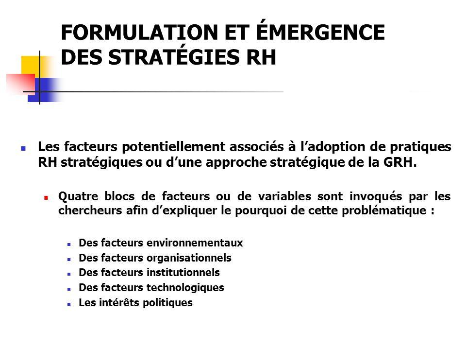 FORMULATION ET ÉMERGENCE DES STRATÉGIES RH Les facteurs potentiellement associés à ladoption de pratiques RH stratégiques ou dune approche stratégique