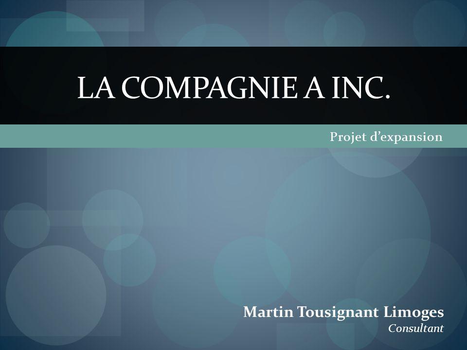 Projet dexpansion LA COMPAGNIE A INC. Martin Tousignant Limoges Consultant