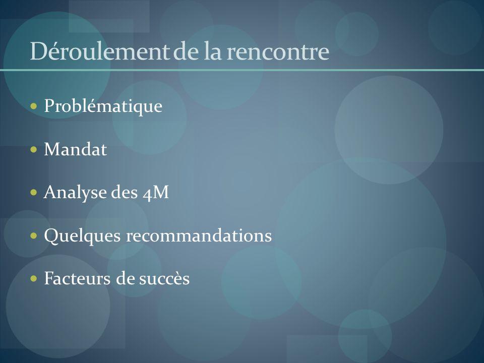 Déroulement de la rencontre Problématique Mandat Analyse des 4M Quelques recommandations Facteurs de succès
