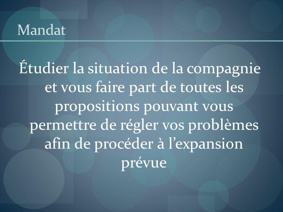 Mandat Étudier la situation de la compagnie et vous faire part de toutes les propositions pouvant vous permettre de régler vos problèmes afin de procé