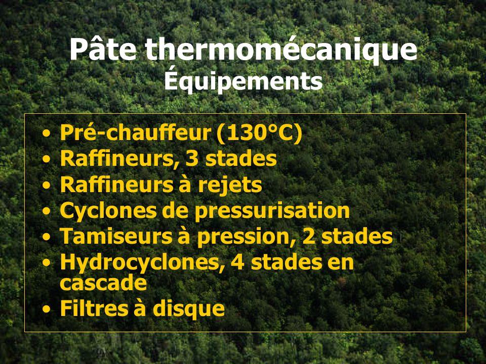 Pâte thermomécanique Procédé conventionnel 2 stages de raffinage raffinage à vitesse modérée (1800 RPM) raffinage à consistance moyenne (20-40%) taux