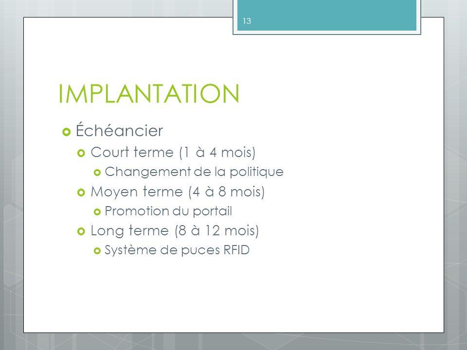 IMPLANTATION Échéancier Court terme (1 à 4 mois) Changement de la politique Moyen terme (4 à 8 mois) Promotion du portail Long terme (8 à 12 mois) Système de puces RFID 13