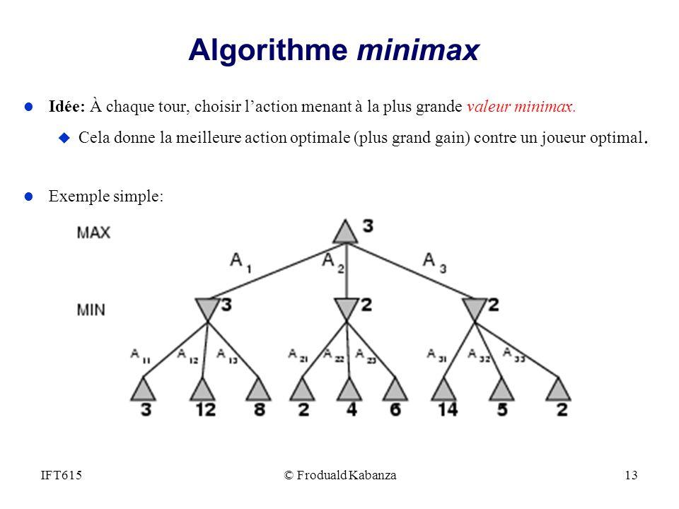 Algorithme minimax l Idée: À chaque tour, choisir laction menant à la plus grande valeur minimax. u Cela donne la meilleure action optimale (plus gran