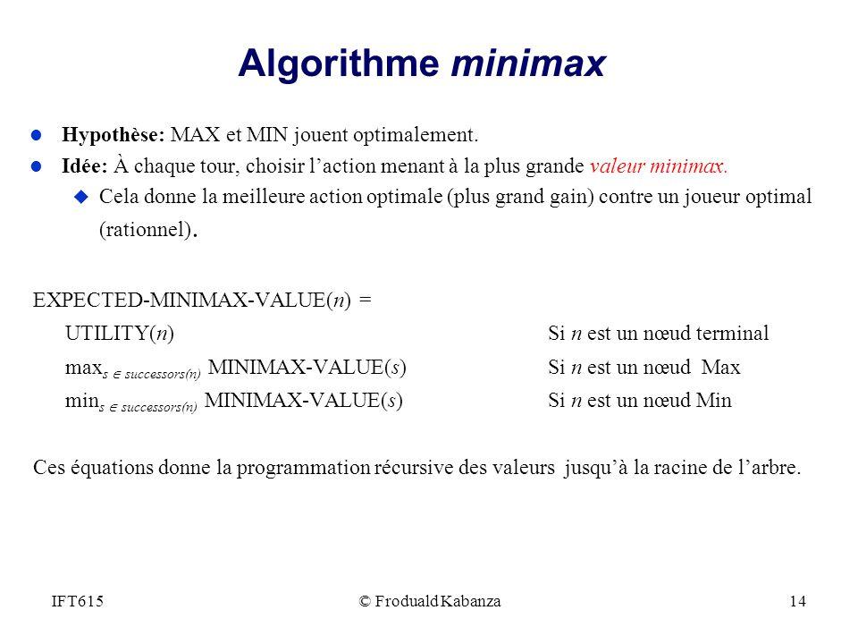 Algorithme minimax l Hypothèse: MAX et MIN jouent optimalement. l Idée: À chaque tour, choisir laction menant à la plus grande valeur minimax. u Cela