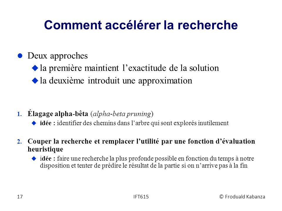 Comment accélérer la recherche l Deux approches u la première maintient lexactitude de la solution u la deuxième introduit une approximation 1. Élagag