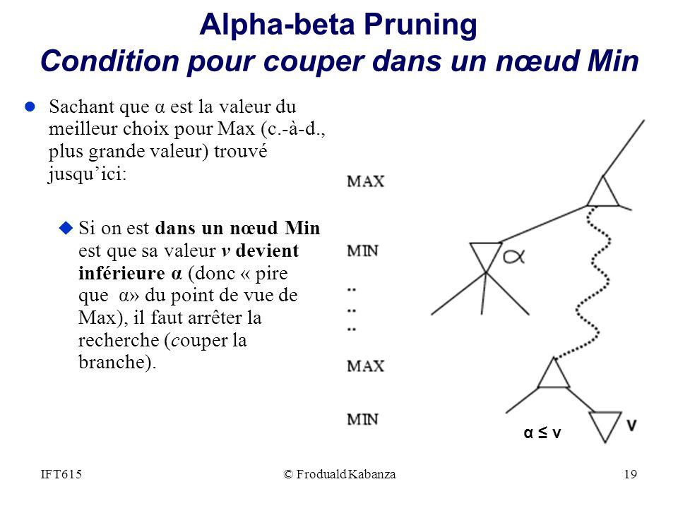 Alpha-beta Pruning Condition pour couper dans un nœud Min l Sachant que α est la valeur du meilleur choix pour Max (c.-à-d., plus grande valeur) trouv