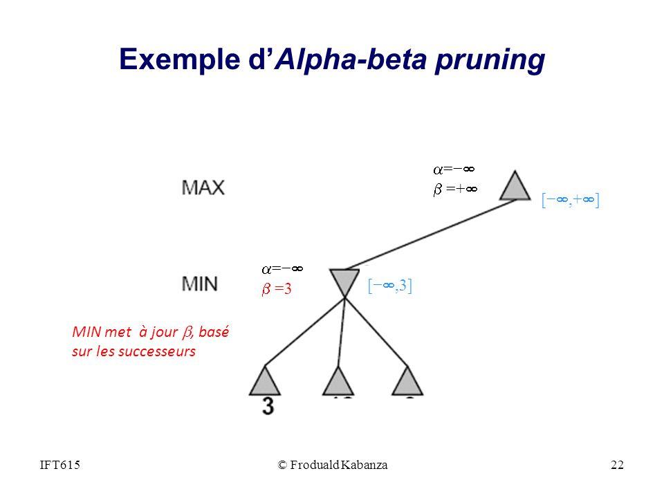 = =+ = =3 [,3] [,+ ] MIN met à jour, basé sur les successeurs IFT615© Froduald Kabanza22 Exemple dAlpha-beta pruning