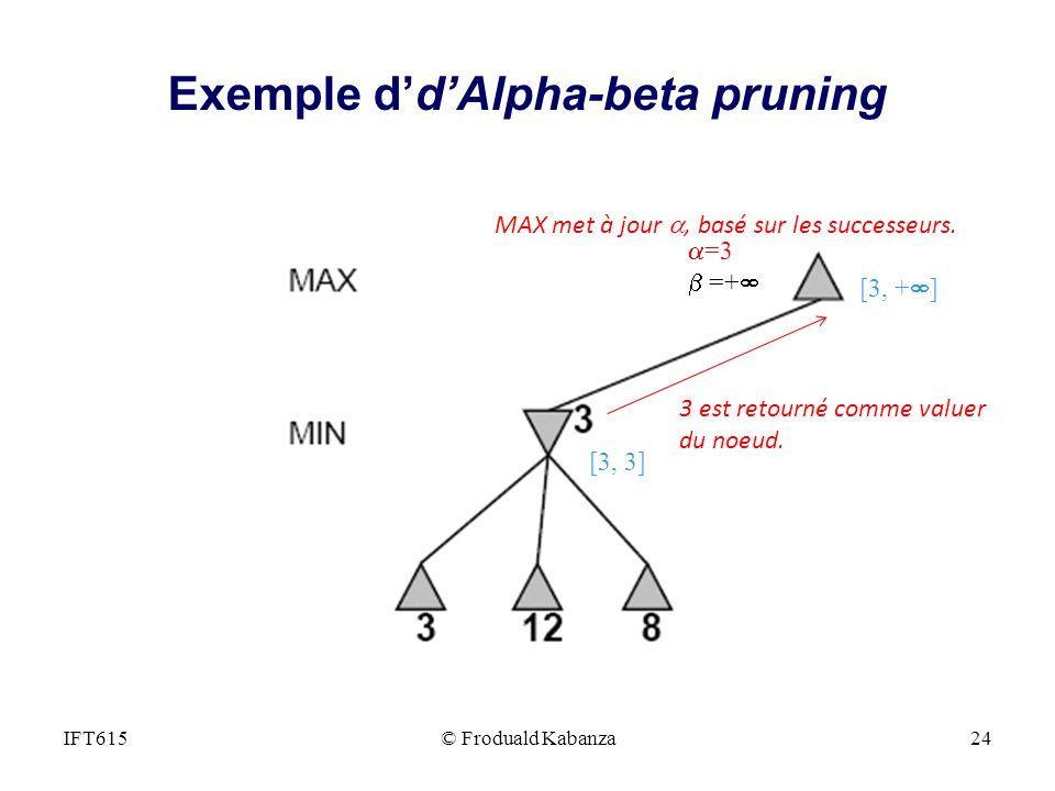 MAX met à jour, basé sur les successeurs. =3 =+ 3 est retourné comme valuer du noeud. [3, + ] [3, 3] IFT615© Froduald Kabanza24 Exemple ddAlpha-beta p
