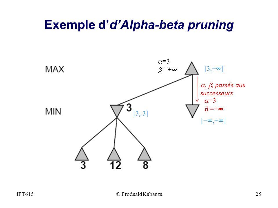 =3 =+ =3 =+,, passés aux successeurs [3,+ ] [3, 3] [,+ ] IFT615© Froduald Kabanza25 Exemple ddAlpha-beta pruning