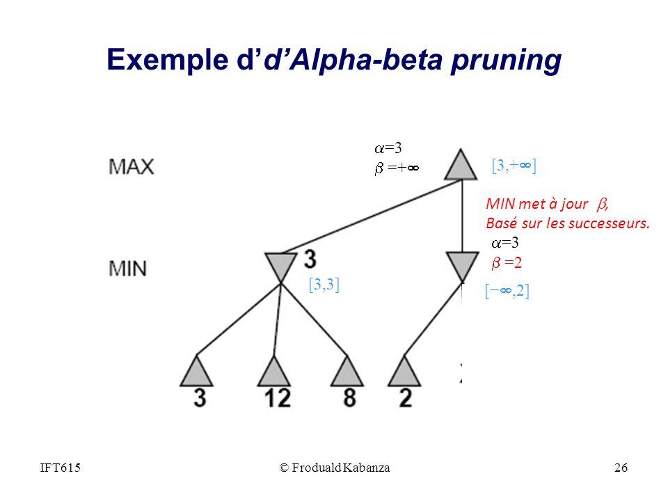 =3 =+ =3 =2 MIN met à jour, Basé sur les successeurs. [3,+ ] [3,3] [,2] IFT615© Froduald Kabanza26 Exemple ddAlpha-beta pruning