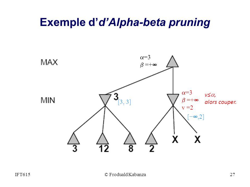 =3 =+ v =2 v, alors couper. =3 =+ [,2] [3, 3] IFT615© Froduald Kabanza27 Exemple ddAlpha-beta pruning
