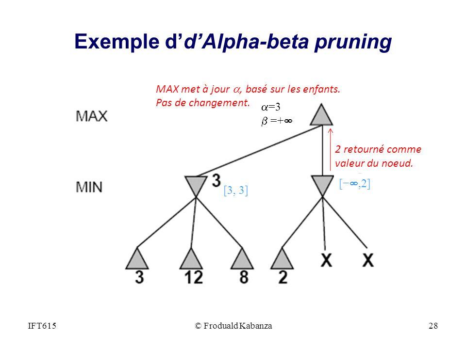 2 retourné comme valeur du noeud. MAX met à jour, basé sur les enfants. Pas de changement. =3 =+ [,2] [3, 3] IFT615© Froduald Kabanza28 Exemple ddAlph
