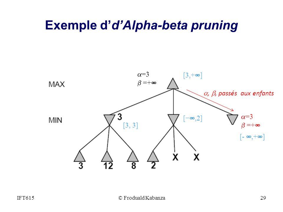 , =3 =+ =3 =+,, passés aux enfants [,2] [3,+ ] [-,+ ] [3, 3] IFT615© Froduald Kabanza29 Exemple ddAlpha-beta pruning