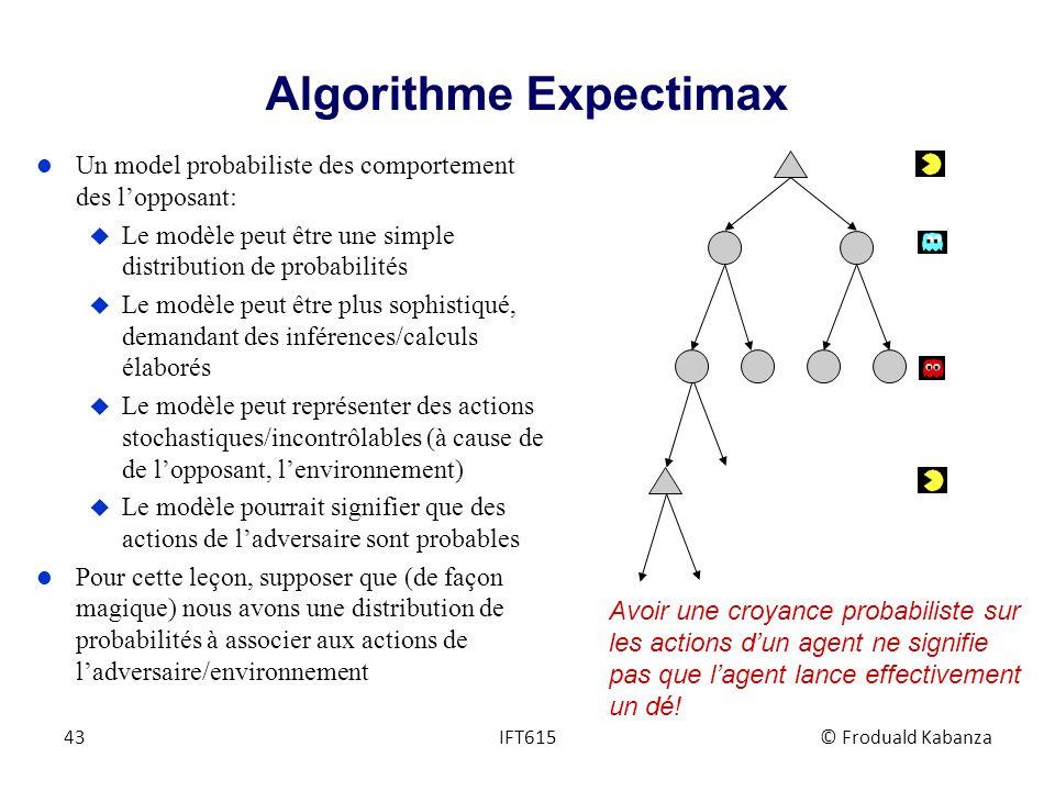 Algorithme Expectimax l Un model probabiliste des comportement des lopposant: u Le modèle peut être une simple distribution de probabilités u Le modèl