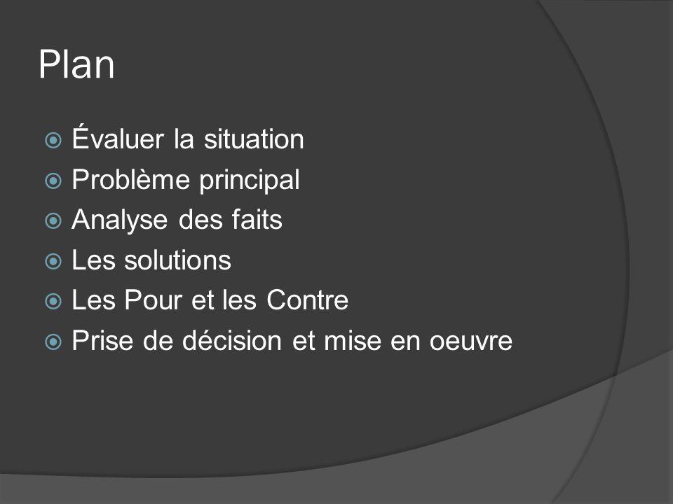 Plan Évaluer la situation Problème principal Analyse des faits Les solutions Les Pour et les Contre Prise de décision et mise en oeuvre