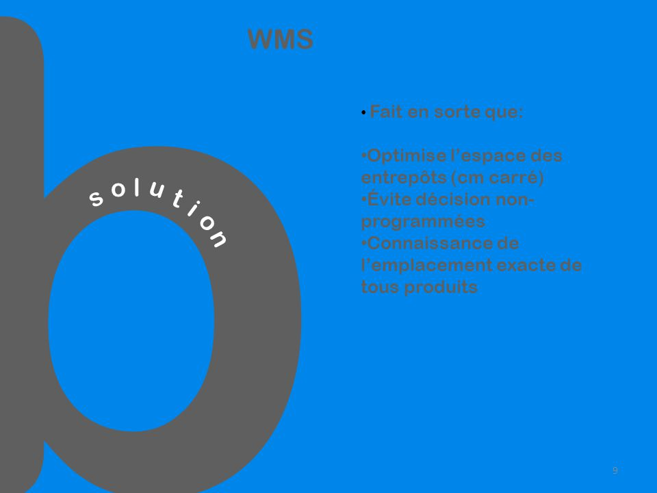b s o l u t i o n WMS Fait en sorte que: Optimise lespace des entrepôts (cm carré) Évite décision non- programmées Connaissance de lemplacement exacte