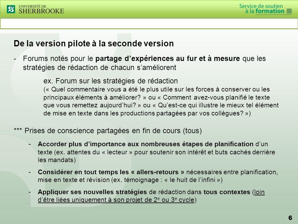 6 De la version pilote à la seconde version -Forums notés pour le partage dexpériences au fur et à mesure que les stratégies de rédaction de chacun saméliorent ex.
