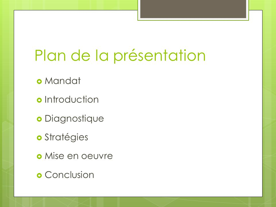 Plan de la présentation Mandat Introduction Diagnostique Stratégies Mise en oeuvre Conclusion