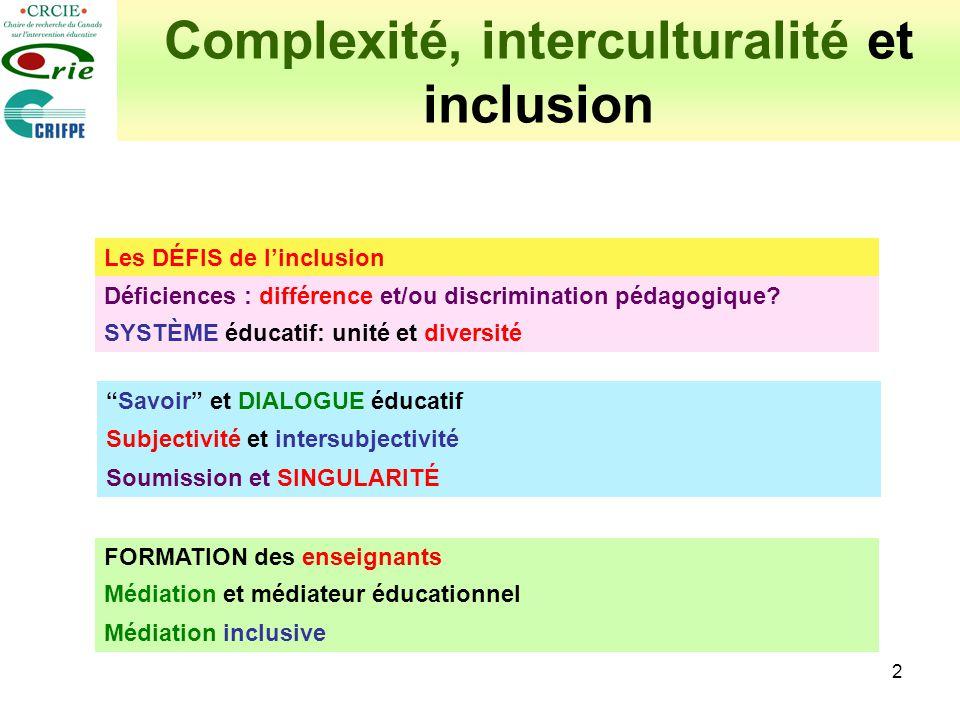 3 Complexité, interculturalité et inclusion Les DÉFIS de linclusion Déficiences et besoins spéciaux: définition légale Éducation inclusive : impasses idéologiques Déficiences : différence et/ou discrimination pédagogique.