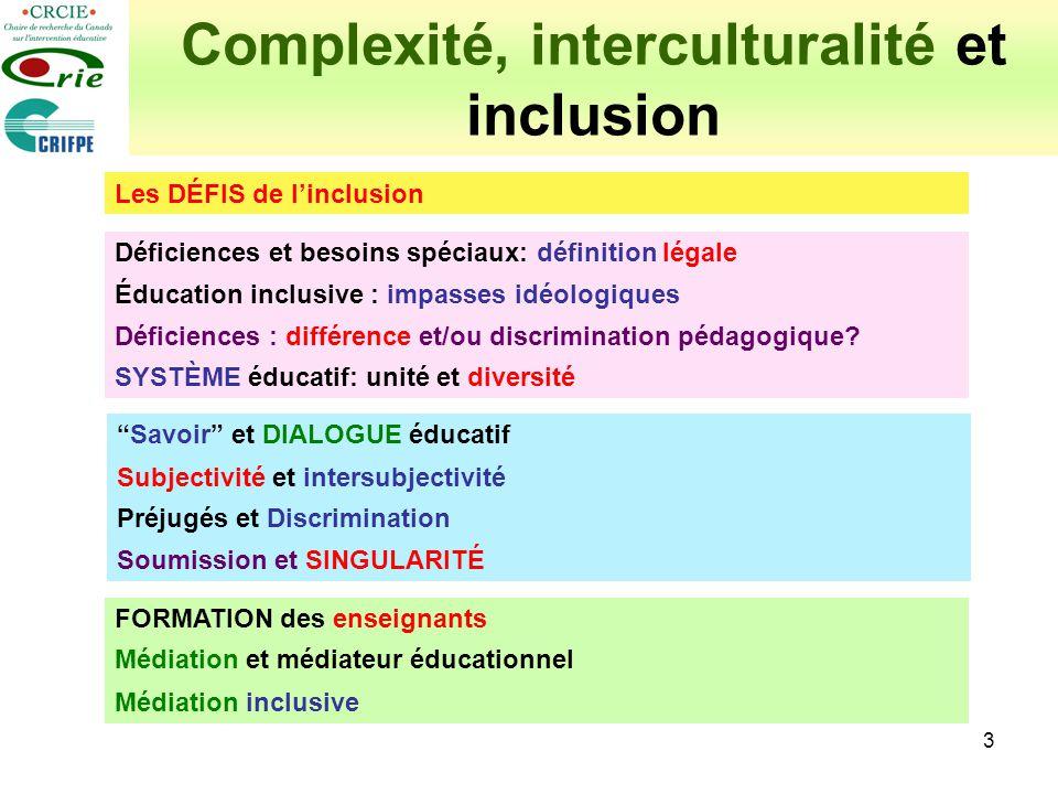 4 Complexité, interculturalité et inclusion Les DÉFIS de linclusion Déficiences et besoins spéciaux: définition légale Éducation inclusive : impasses idéologiques Déficiences : différence et/ou discrimination pédagogique.
