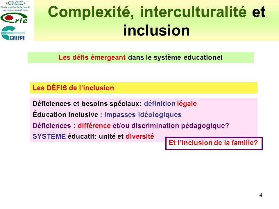 4 Complexité, interculturalité et inclusion Les DÉFIS de linclusion Déficiences et besoins spéciaux: définition légale Éducation inclusive : impasses