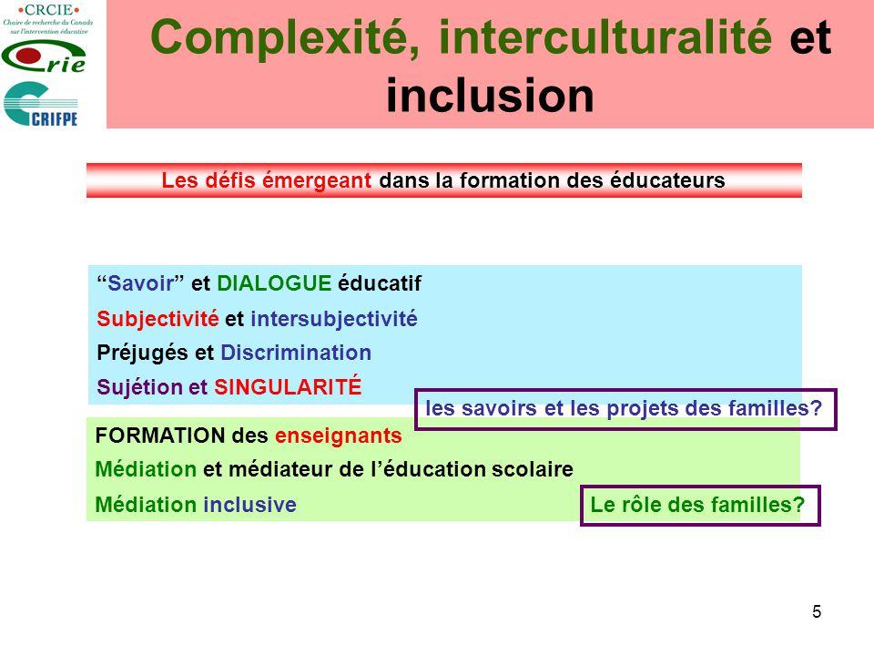 5 Complexité, interculturalité et inclusion Savoir et DIALOGUE éducatif Subjectivité et intersubjectivité Sujétion et SINGULARITÉ Préjugés et Discrimi