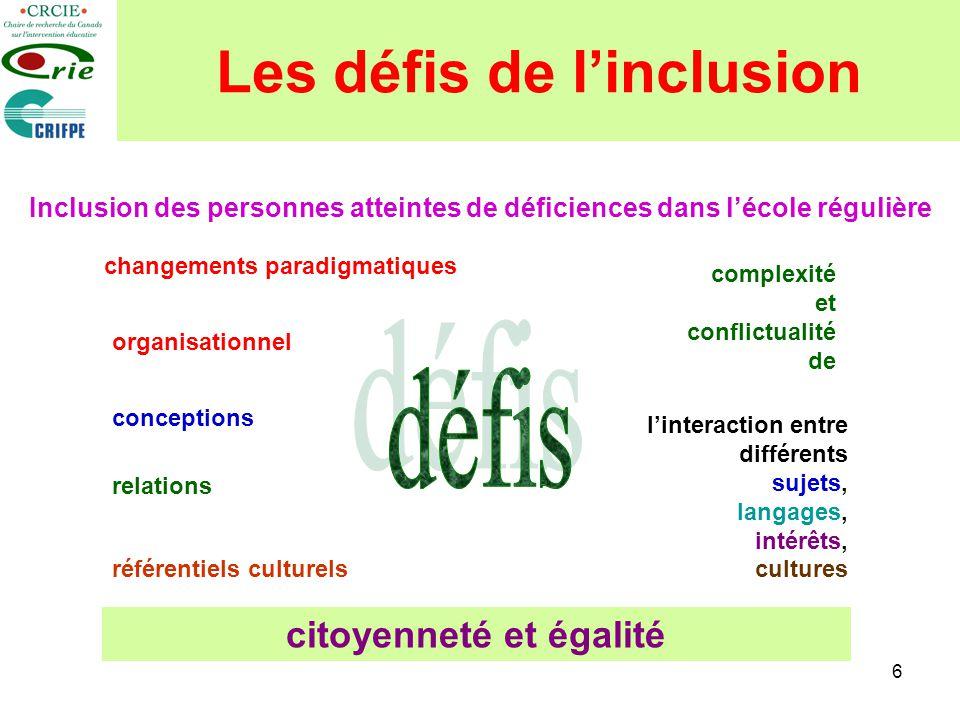 6 Les défis de linclusion Inclusion des personnes atteintes de déficiences dans lécole régulière changements paradigmatiques conceptions relations réf