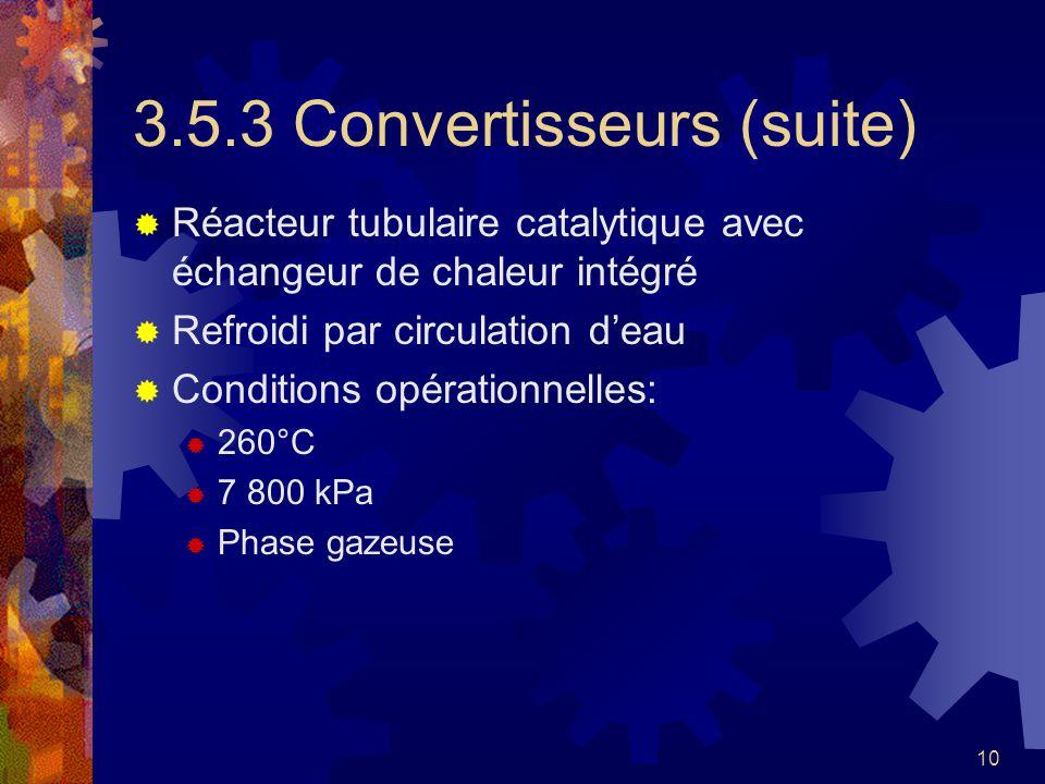 10 3.5.3 Convertisseurs (suite) Réacteur tubulaire catalytique avec échangeur de chaleur intégré Refroidi par circulation deau Conditions opérationnel