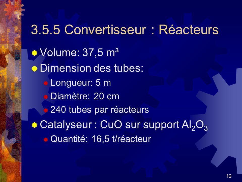 12 3.5.5 Convertisseur : Réacteurs Volume: 37,5 m³ Dimension des tubes: Longueur: 5 m Diamètre: 20 cm 240 tubes par réacteurs Catalyseur : CuO sur sup