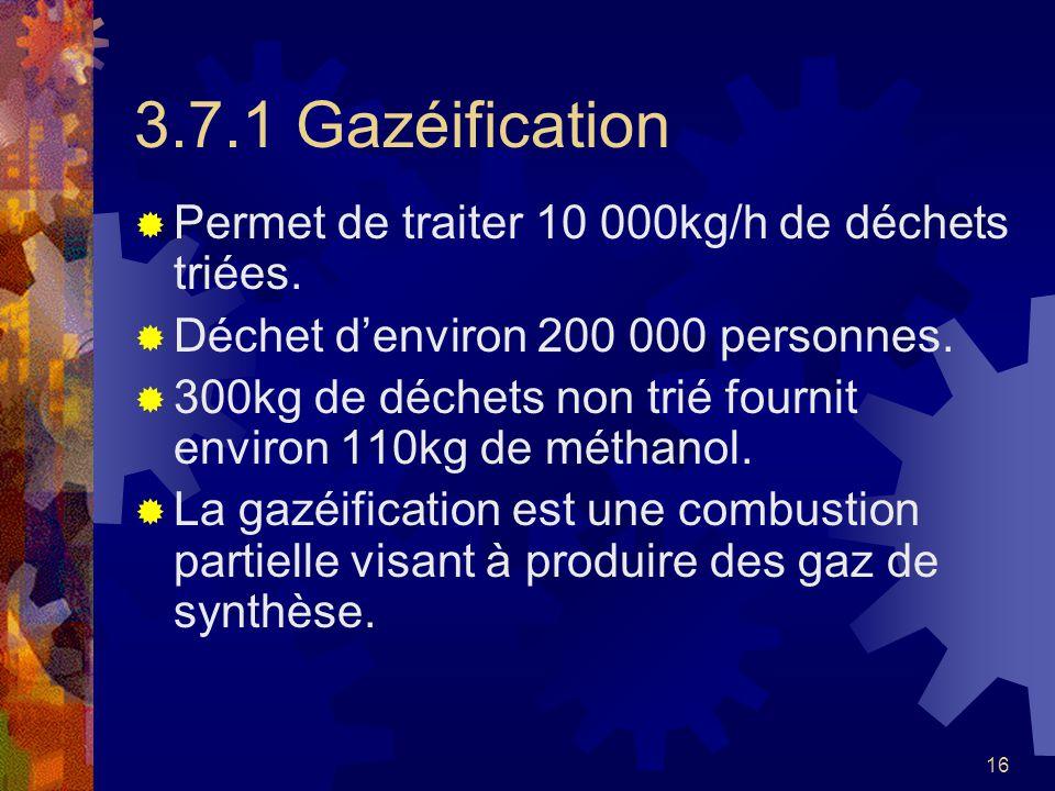 16 3.7.1 Gazéification Permet de traiter 10 000kg/h de déchets triées. Déchet denviron 200 000 personnes. 300kg de déchets non trié fournit environ 11