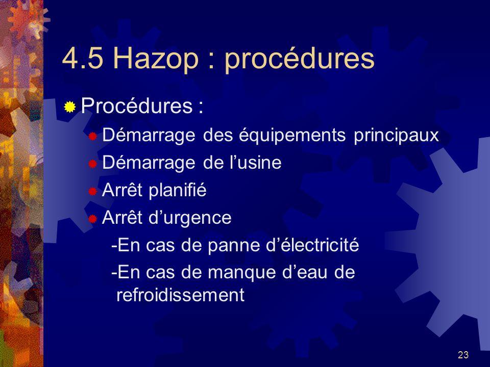 23 4.5 Hazop : procédures Procédures : Démarrage des équipements principaux Démarrage de lusine Arrêt planifié Arrêt durgence -En cas de panne délectr