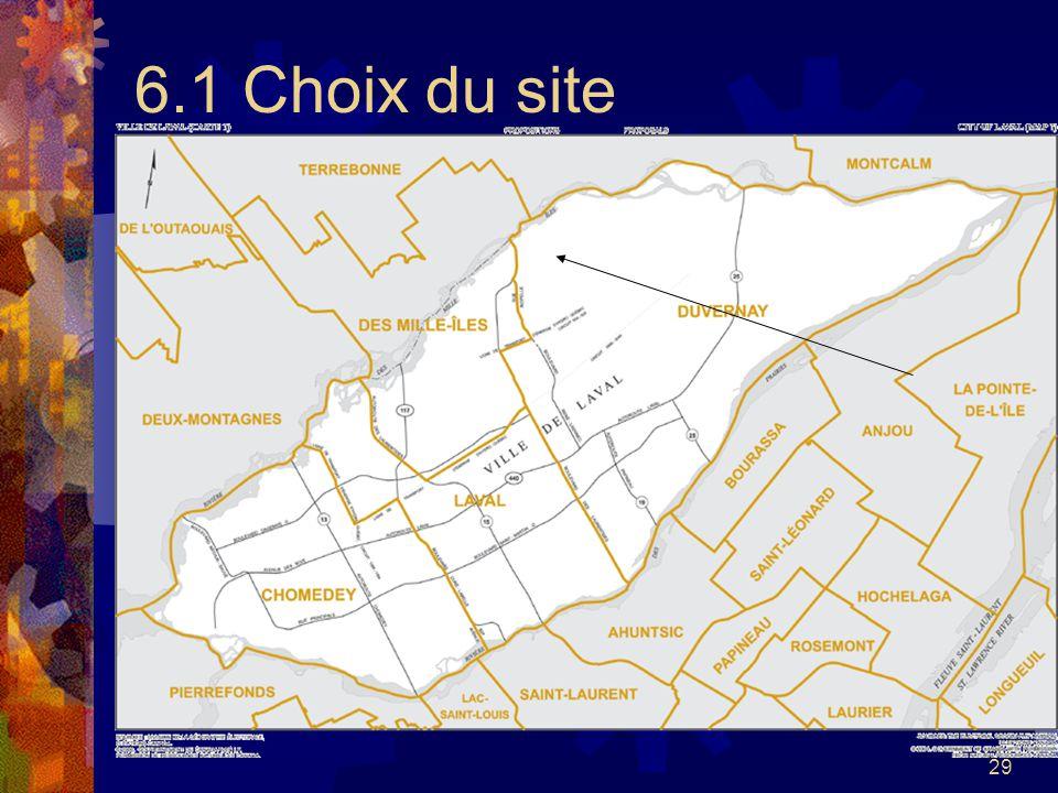 29 6.1 Choix du site