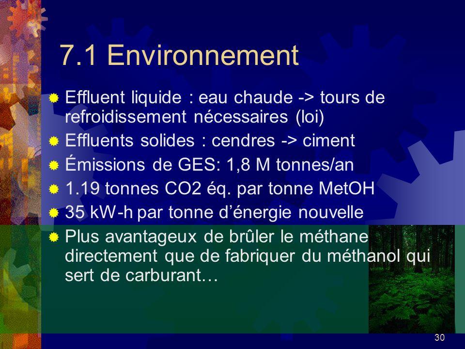 30 7.1 Environnement Effluent liquide : eau chaude -> tours de refroidissement nécessaires (loi) Effluents solides : cendres -> ciment Émissions de GE