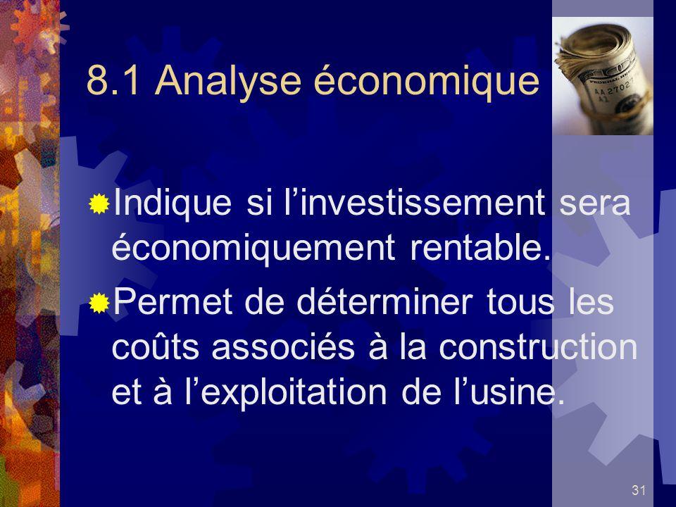 31 8.1 Analyse économique Indique si linvestissement sera économiquement rentable. Permet de déterminer tous les coûts associés à la construction et à