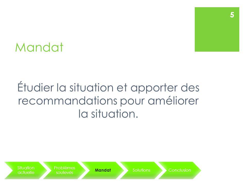 Mandat Étudier la situation et apporter des recommandations pour améliorer la situation.