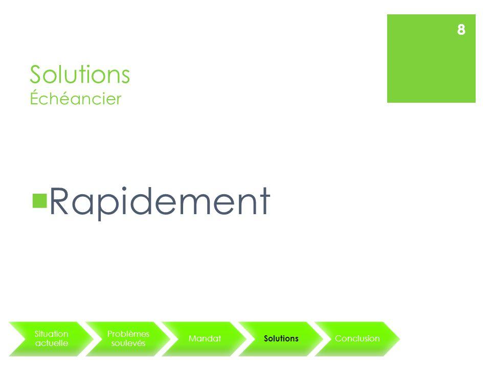 Solutions Échéancier Situation actuelle Problèmes soulevés Mandat Solutions Conclusion 8 Rapidement