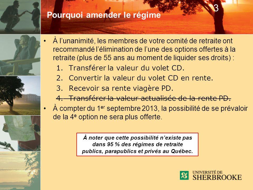 À lunanimité, les membres de votre comité de retraite ont recommandé lélimination de lune des options offertes à la retraite (plus de 55 ans au moment de liquider ses droits) : 1.Transférer la valeur du volet CD.