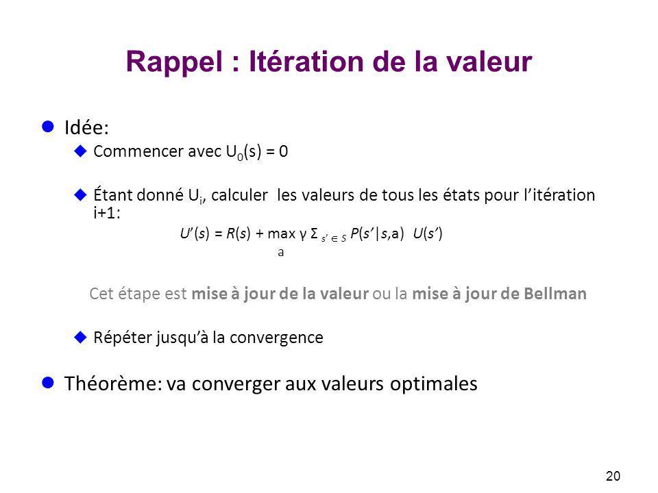 Rappel : Itération de la valeur Idée: Commencer avec U 0 (s) = 0 Étant donné U i, calculer les valeurs de tous les états pour litération i+1: U(s) = R(s) + max γ Σ s S P(s|s,a) U(s) a Cet étape est mise à jour de la valeur ou la mise à jour de Bellman Répéter jusquà la convergence Théorème: va converger aux valeurs optimales 20