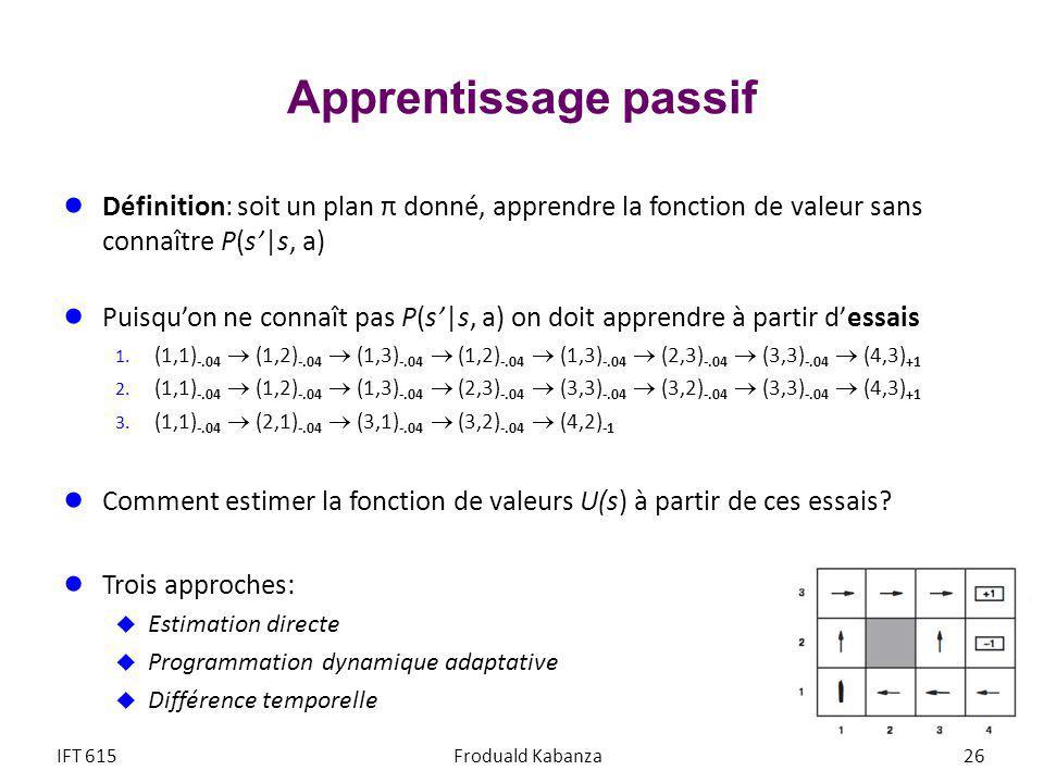Apprentissage passif Définition: soit un plan π donné, apprendre la fonction de valeur sans connaître P(s|s, a) Puisquon ne connaît pas P(s|s, a) on doit apprendre à partir dessais 1.